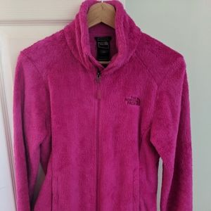 North Face fuzzy fleece in hot pink, sz S